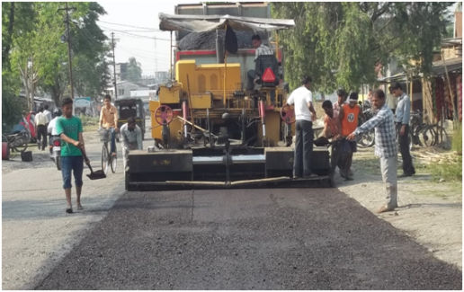 laying-of-cold-mix-sdbc-by-paver
